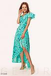 Ассиметричное платье на запах с принтом бабочки ментоловое, фото 2