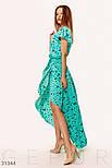 Ассиметричное платье на запах с принтом бабочки ментоловое, фото 3