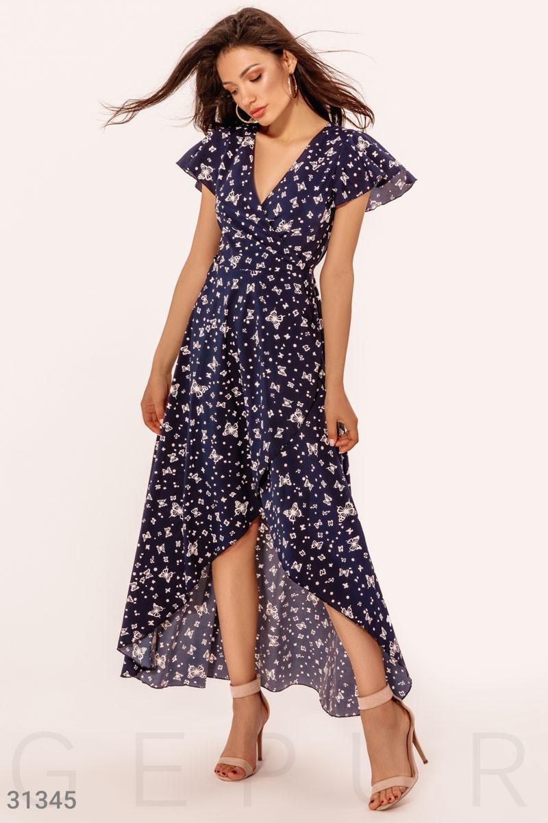 Ассиметричное платье на запах с принтом бабочки синее