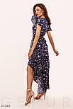 Ассиметричное платье на запах с принтом бабочки синее, фото 2