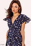 Ассиметричное платье на запах с принтом бабочки синее, фото 3