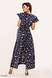 Ассиметричное платье на запах с принтом бабочки синее, фото 4