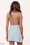 Летнее двухцветное платье мини с вырезом бежево-голубое, фото 3