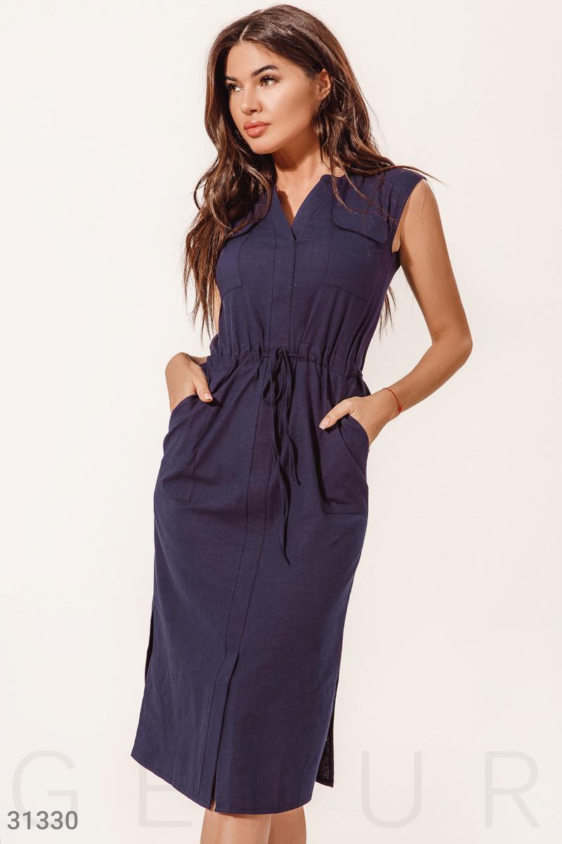Повседневное летнее платье-миди без рукавов темно-синее