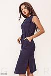 Повседневное летнее платье-миди без рукавов темно-синее, фото 2