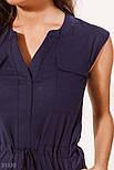 Повседневное летнее платье-миди без рукавов темно-синее, фото 3