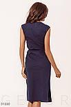 Повседневное летнее платье-миди без рукавов темно-синее, фото 4