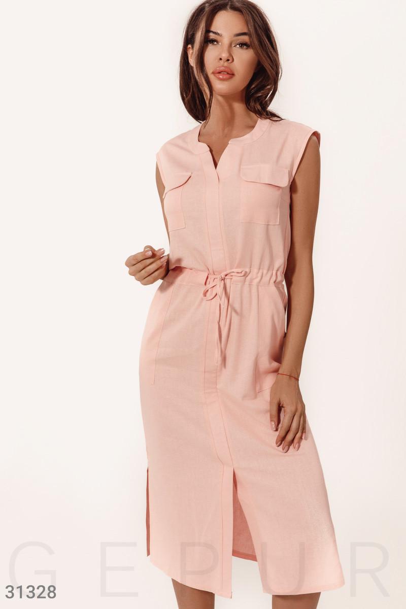 Повседневное летнее платье-миди без рукавов пудровое