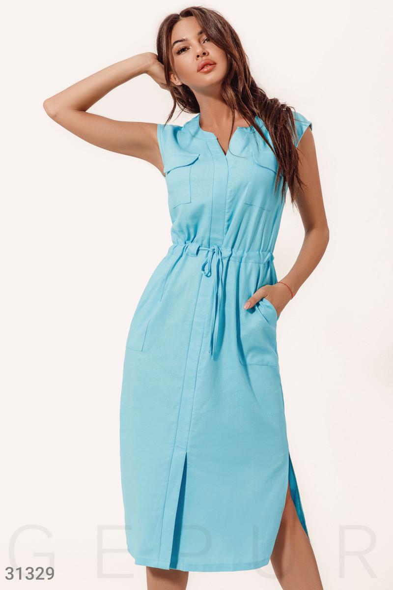 Повсякденне літній сукні-міді без рукавів блакитне