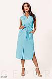Повсякденне літній сукні-міді без рукавів блакитне, фото 2