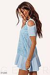 Платье-трапеция с открытыми плечами голубое, фото 2