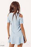 Платье-трапеция с открытыми плечами голубое, фото 3