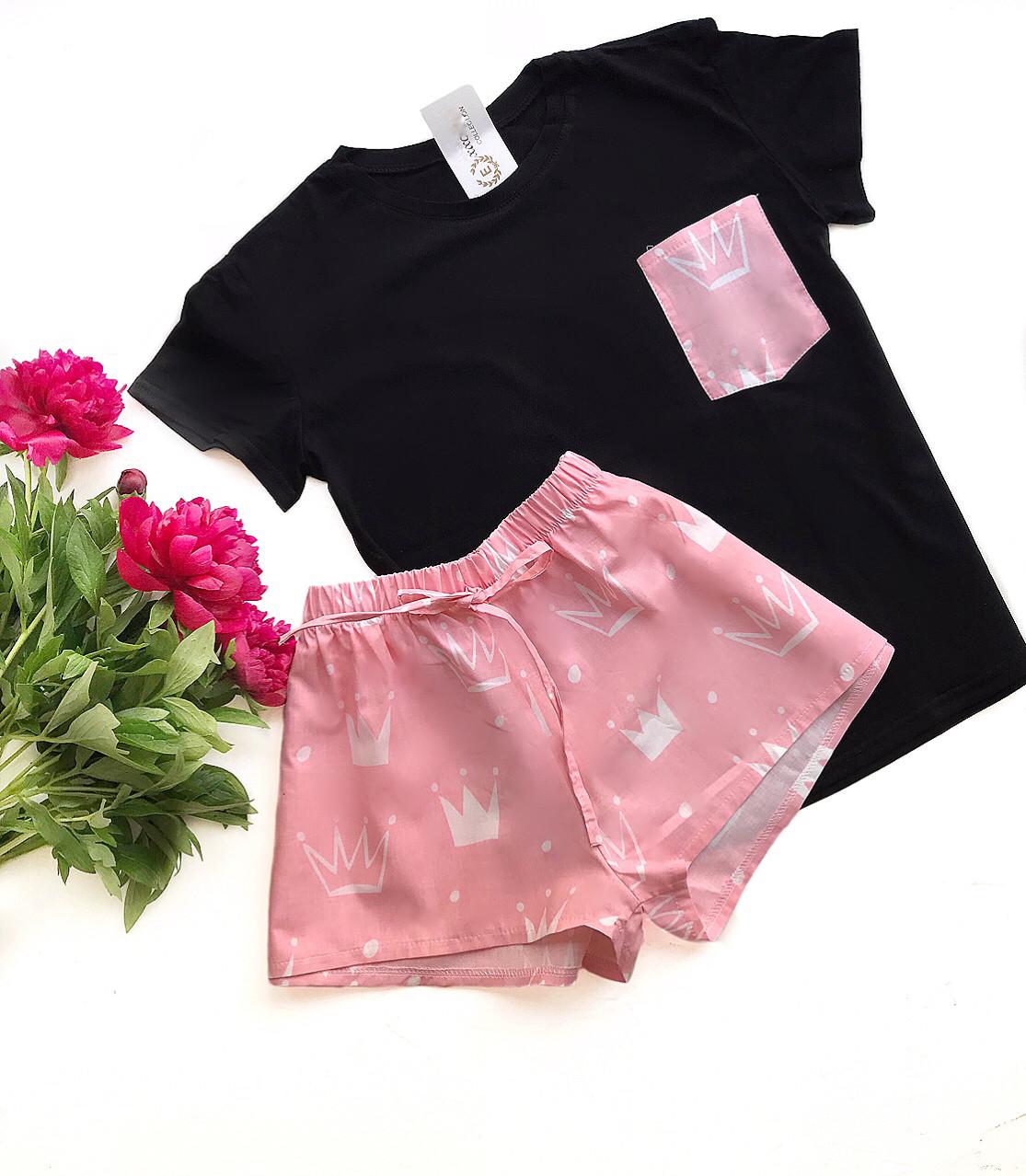 Пижама футболка и шорты S-M корона