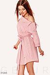 Легкое платье мини на одно плечо в красную полоску, фото 2