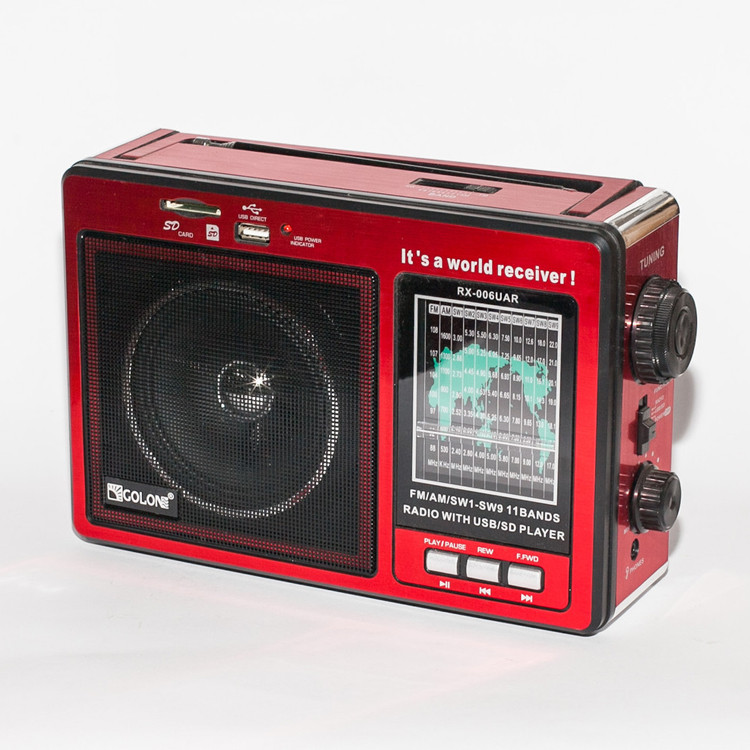 """Портативный радиоприемник """"GOLON"""" RX-006UAR USB FM Красный SD радио кардридер"""