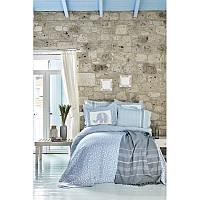 Набор постельное белье с покрывалом + плед Karaca Home - Zilonis mavi 2019-2 голубой евро