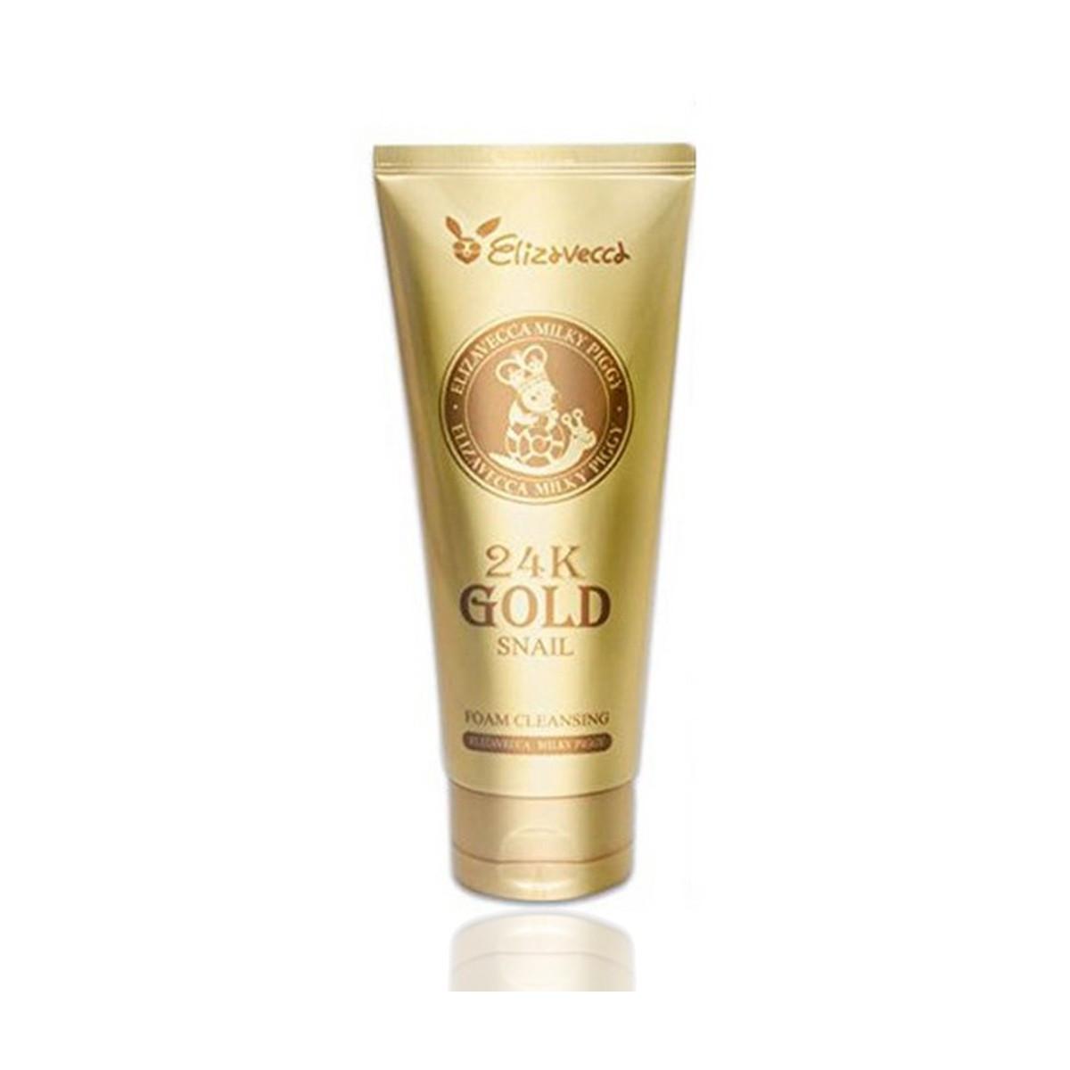 Очищающая пенка для умывания  с муцином улитки и 24к золотом Elizavecca 24k gold water dew snail mask pack