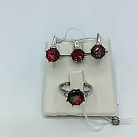 Комплект серебряных изделий серьги, кольцо, подвес. Им. кварц