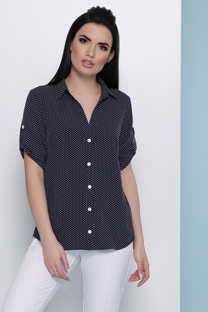 Жіноча блуза з софту в горох