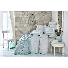 Набор постельное белье с покрывалом + пике Karaca Home - Zilonis su yesil 2019-2 зеленый евро