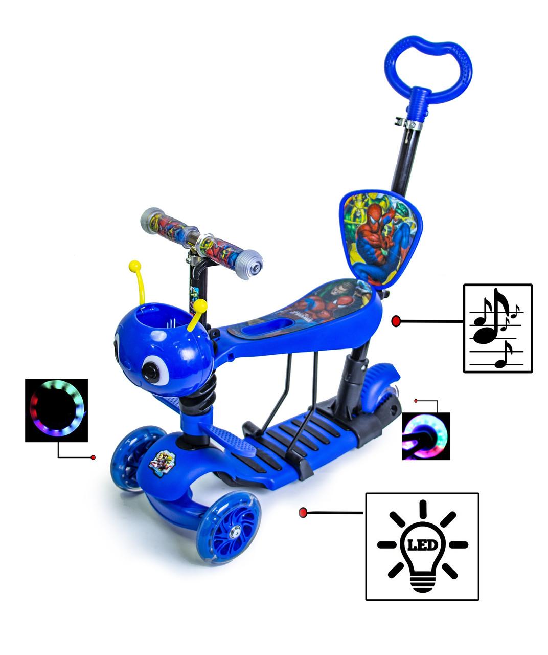 """Самокат Scooter Бджілка 5 в 1 з малюнком """"Людина Павук"""". З музикою та підсвіткою"""