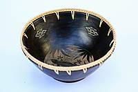 Миска керамическая глубокая с ротанговой оплеткой,диаметр 27 см