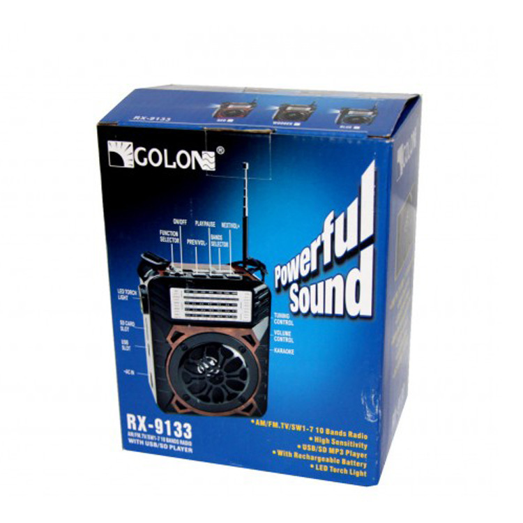 Портативный радиоприёмник MP3 USB Golon RX-9122 Синий SD портативное радио кардридер Фонарик