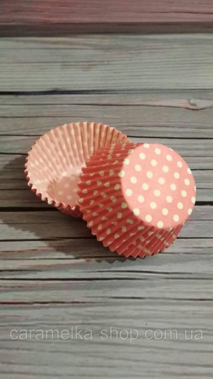 Бумажные формы для кексов розовый горох, 50шт