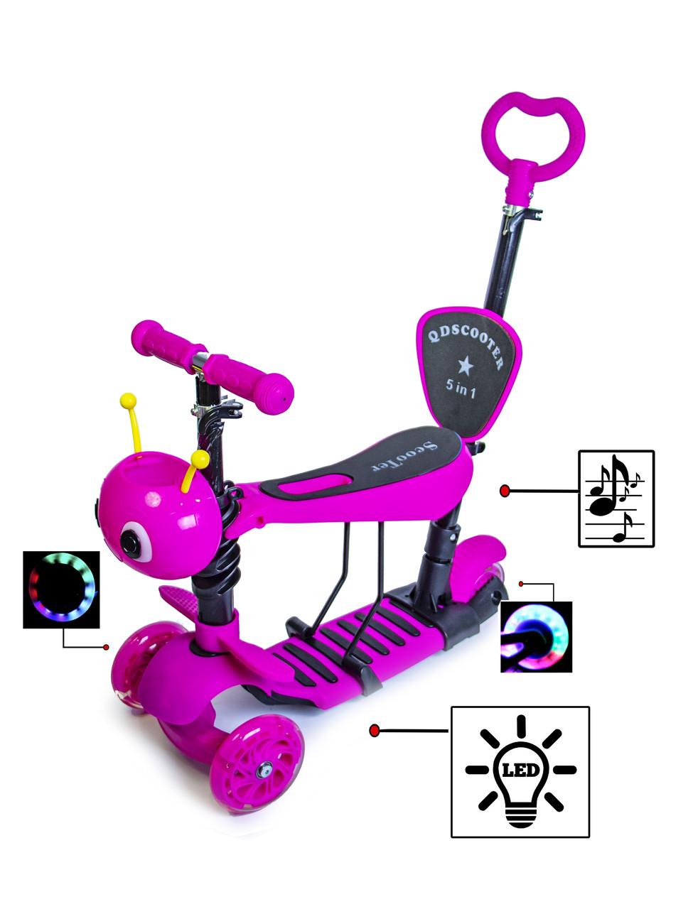 Самокат Scooter Пчелка 5 в 1. Розовый. С музыкой и подсветкой