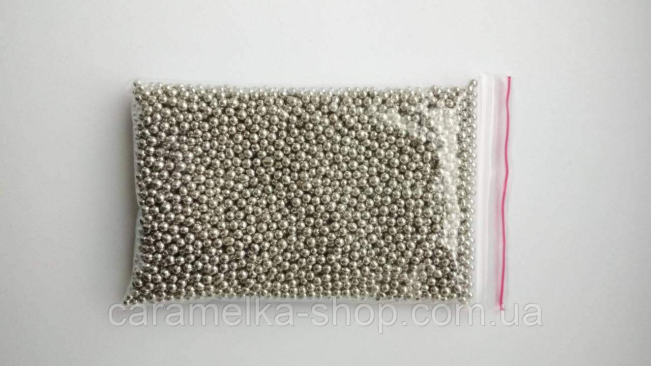 Кондитерська посипання Намисто, срібло, 2 мм