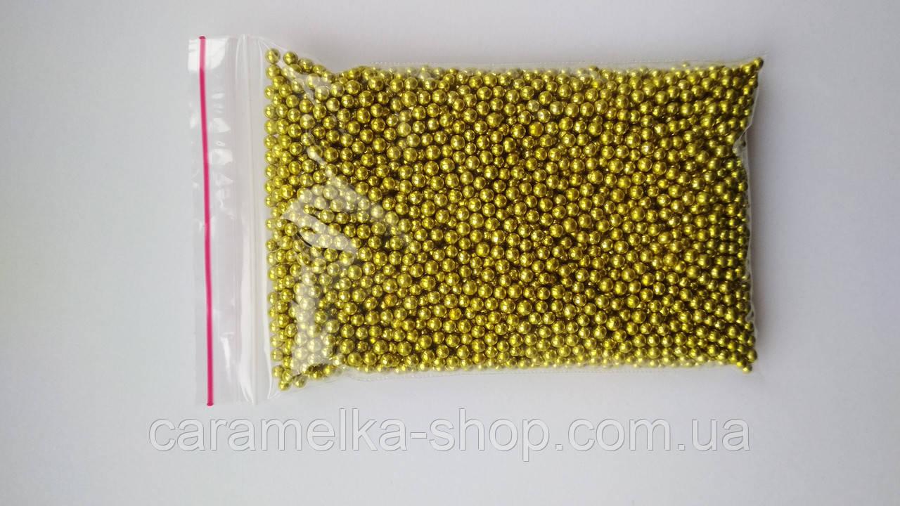 Кондитерська посипання Намисто золоті, 2 мм