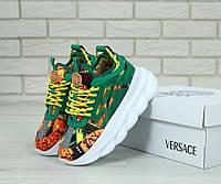 Кроссовки женские на платформе зеленые яркие красивые стильные модные Versace Версаче