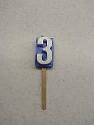 Свічки для торта цифра 3 кольорова
