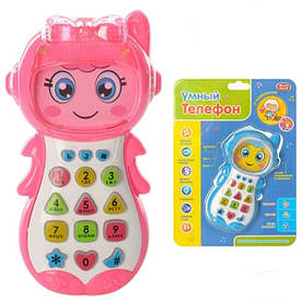 Умный телефон Play Smart музыка, проектор, цифры, буквы, цвет розовый (7483)