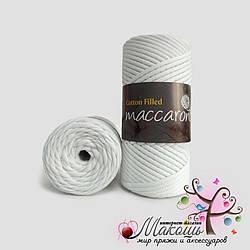 Хлопковый шнур Maccaroni Cotton Filled 3 мм, №601, белый