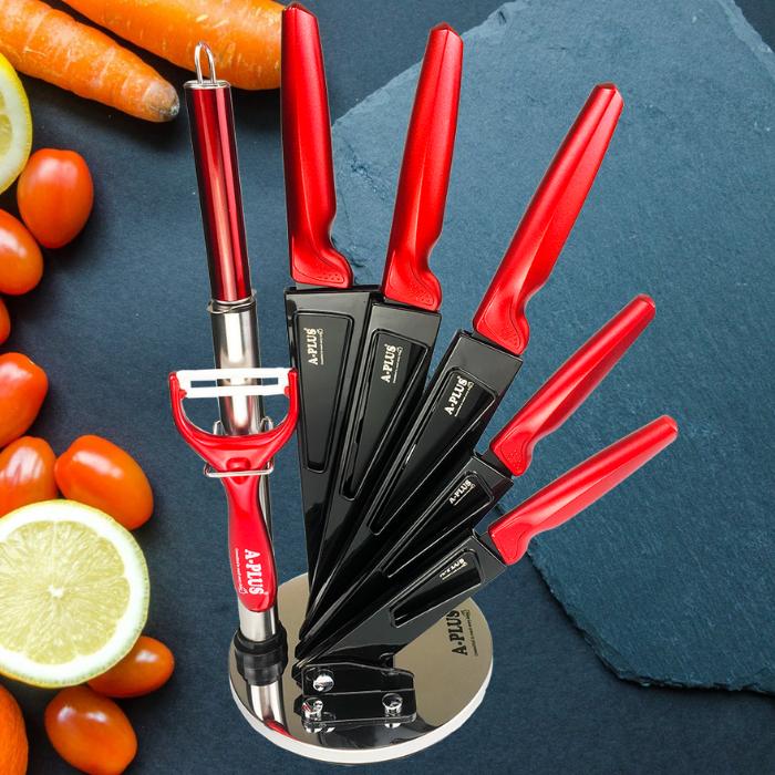 Набор кухонных ножей А+ черно красный с подставкой
