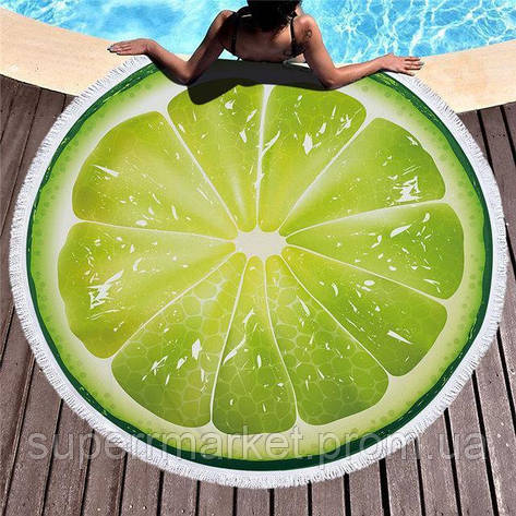 Пляжное полотенце круглое Лайм, 150см, фото 2