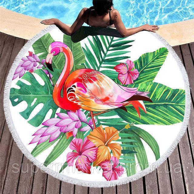 Пляжное полотенце круглое Фламинго, 150см