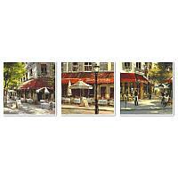 Картина по номерам Летнее кафе Триптих 50x150 см. Babylon