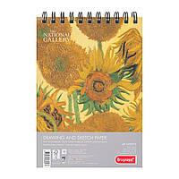 Альбом для рисунку та скечінку SUNFLOWERS, Ван Гог А5, 160г/м2,40л, 100% целюлоза, дрібне зерно, Bruynzeel