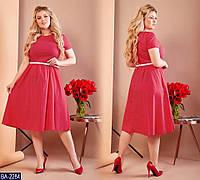 45fe92922b7 Повседневное летнее платье миди с коротким рукавом на полных дам красное в  белый горох
