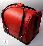 Бьюти кейс чемодан для мастера салонов красоты из гладкого кожзама на змейке красный с черными ручками