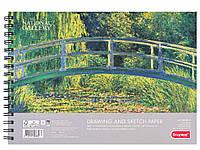 Альбом для рисунку та скечінку THE WATER-LILY POND, Клод Моне А4, 160г/м2,40л, 100% целюлоза, дрібне зерно