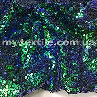 Пайеточная ткань на сетке Сине-зеленая