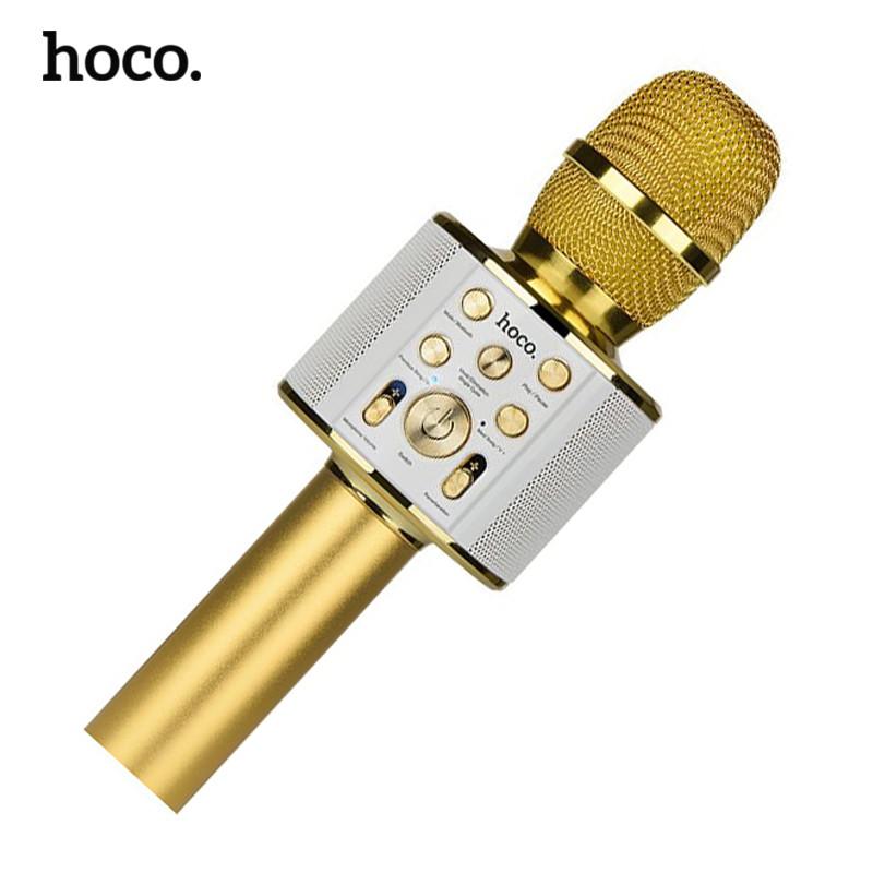Микрофон беспроводной для караоке Hoco BK3 Cool sound KTV Bluetooth microphone (Золотистый)