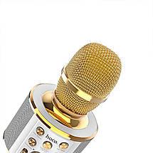 Микрофон беспроводной для караоке Hoco BK3 Cool sound KTV Bluetooth microphone (Золотистый), фото 2
