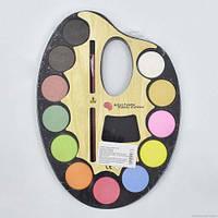 Акварельные краски на круглой палитре, с кисточкой (12 цветов) 01437