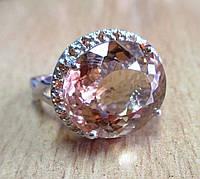"""Шикарное кольцо с морганитом и сапфирами """"Улыбка"""", размер 18 от студии LadyStyle.Biz"""
