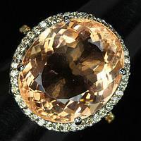 """Шикарное кольцо с морганитом и сапфирами """"Персия"""", размер 17.6 от студии LadyStyle.Biz, фото 1"""