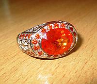 """Яркий перстень """"Мандариновый"""" с оранжевым  сапфирами , размер 19.8  студия LadyStyle.Biz, фото 1"""